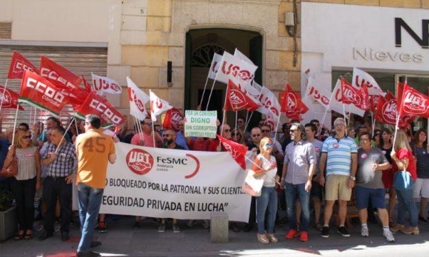 UGT Almería protesta ante el bloqueo del Convenio Colectivo del Sector de Seguridad Privada