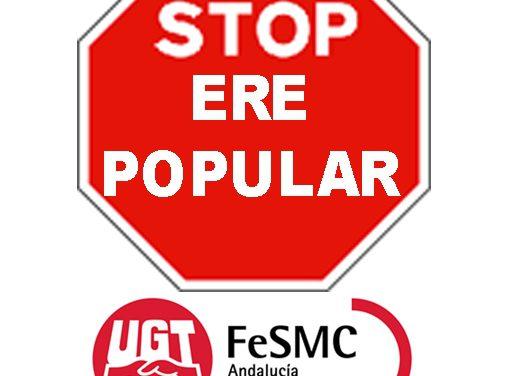 """UGT se concentra los días 13 y 20 de octubre contra el ERE """"salvaje"""" en el Banco Popular que afecta a un centenar de la plantilla en Málaga"""